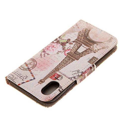 Coque iPhone X Tour de fleurs Portefeuille Fermoir Magnétique Supporter Flip Téléphone Protection Housse Case Étui Pour Apple iPhone X / iPhone 10 (2017) 5.8 Pouce + Deux cadeau