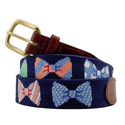 Smathers & Branson Men's Needlepoint Belt 42 Bow Ties/Dark Navy -
