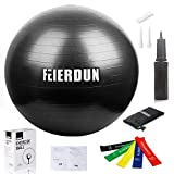 Exercise Ball - Anti Burst Tested Yoga Ball Supports 240lbs - Swiss Ball Includes Exercise Resistance Loop Bands & Hand Pump for Home - Balance - Stability - Gym - Core Strength - Yoga - Fitness - Pilates