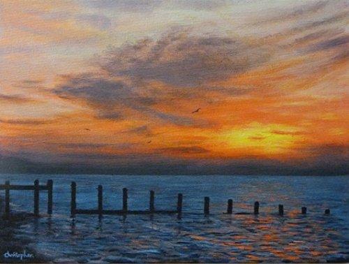 Essex coast sunrise - seascape painting