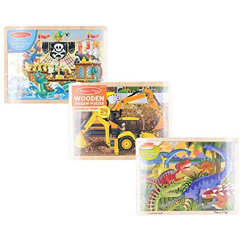 Melissa & Doug 3-Puzzle Jigsaw Set - Diggers at Work, Pirate Adventure & Dinosaur Bundle (3 Pack) ()
