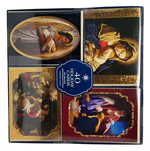 40 Baby Jesus Christmas Holiday Cards with Self Sealing Envelopes (Christian Wholesale Christmas Cards)