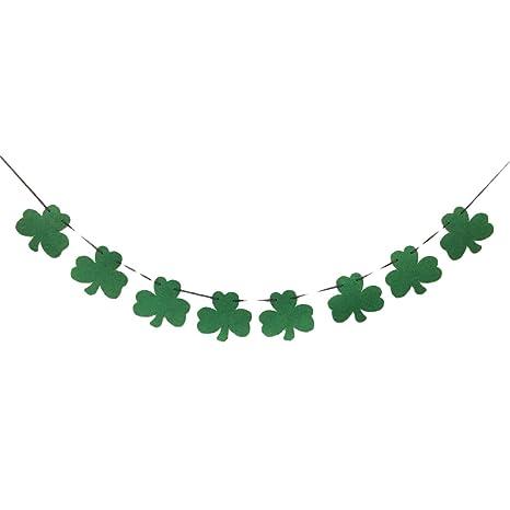 Amosfun Decoracion Colgante San Patricio de Trebol Irlandés Pancartas para Fiestas Día de San Patricio Decoraciones
