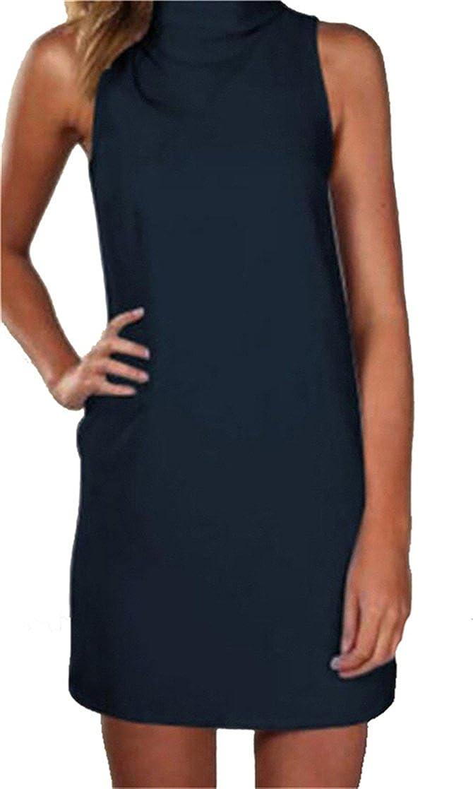 Oberora Womens Casual Sleeveless High Neck Pencil Shift Tank Mini Dress