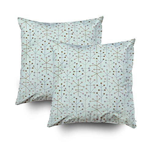 Musesh Pack of 2 Halloween Connect The dots Square in Aqua Cushions Case Throw Pillow Cover for Sofa Home Decorative Pillowslip Gift Ideas Household Pillowcase Zippered Pillow Covers 18X18Inch