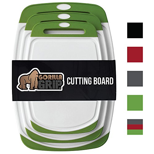 Boards Colored Cutting (GORILLA GRIP Original Reversible Cutting Board (3-Piece Set) for Kitchen, BPA Free, Easy Grip Handle, Dishwasher Safe, Non-Porous, Boards are Extra Large and Thick, Juice Grooves (Set of Three: Green))