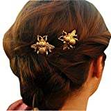 Missgrace 2PCS Girl Exquisite Gold Bee Hairpin Side Clip Hair Accessorie