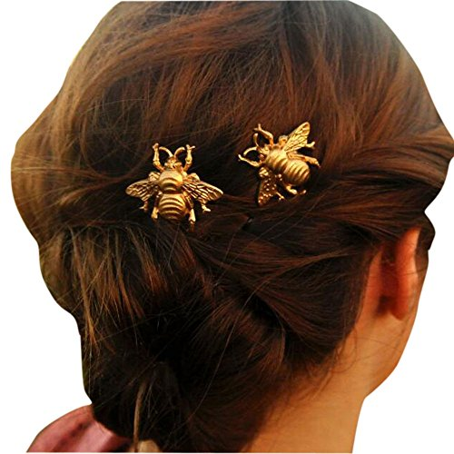 Missgrace 2PCS Girl Exquisite Gold Bee Hairpin Side Clip Hair Accessories Bridal Hair - Accessories Bees