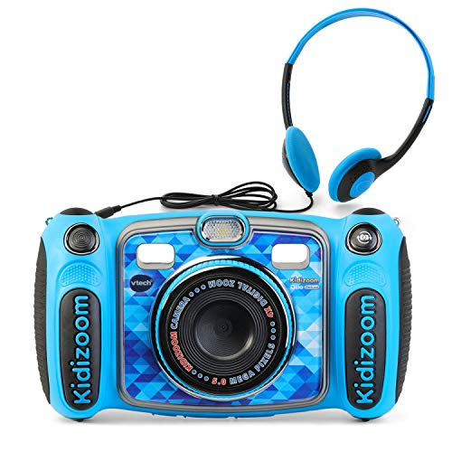 VTech Kidizoom Duo 5.0 Deluxe Digital Selfie Camera with MP3 Player & Headphones, Blue (Blue Light Filter Ipod Touch)