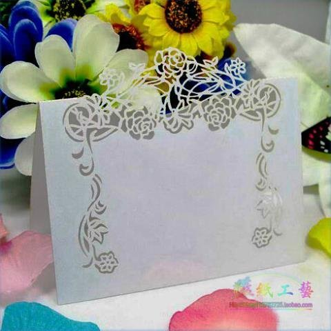aser Cut Flower Vine Pattern Paper Card Marriage Party Banquet Place Card Table Number Name Holder (Vine Place Card)
