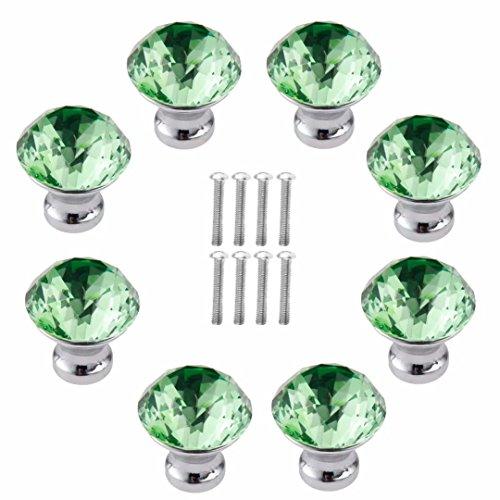 FirstDecor 30MM 8pcs Green Crystal Acrylic Glass Diamond Cut Door Knob Cupboard Drawer Pull Handle/Great for Cupboard, Kitchen and Bathroom Cabinets, ()
