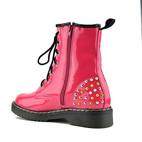 Tacchetti Ladies Kick Womens Combat Lace Funky Boot Retro Rotondi L Goth Vintage 12085 Ankle Rosa Footwear 57wq7a