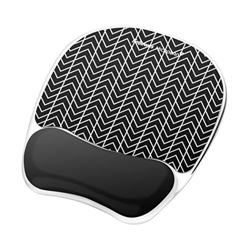 Fellowes Photo Gel Mouse Pad and Wrist Rest with Microban Protection, Black Chevron - Pad Antimicrobial Mouse