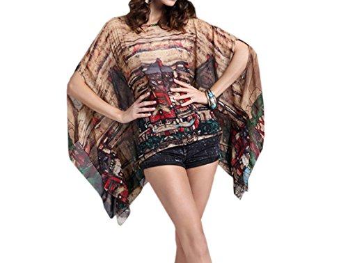 ACVIP Damen Sommer Cover Up Strandkleid mit Städtchen Muster Urlaub Bluse