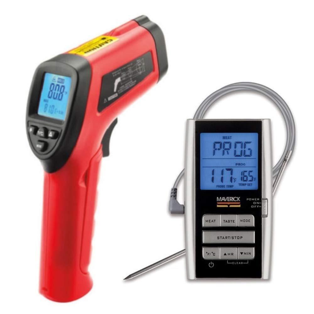 Maverick LT-04 Infrared Laser Surface Thermometer w/Maverick ET8 Digital Single Probe Roast Alert Thermometer Bundle