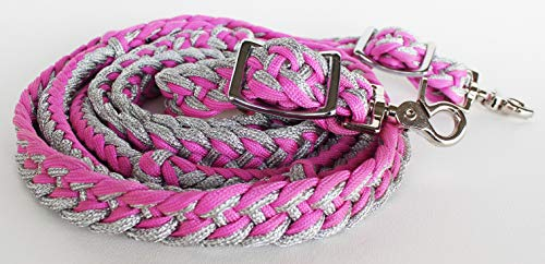 PRORIDER Roping Knotted Horse Tack Western Barrel Reins Nylon Braided Silver Pink 607475