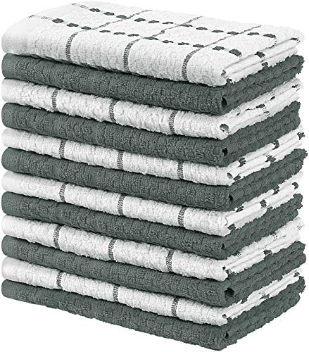 Utopia Towels Kitchen Towels, Pack of 12, 15 x 25 Inches, 100% Ring Spun Cotton Super Soft and Absorbent Grey Dish…