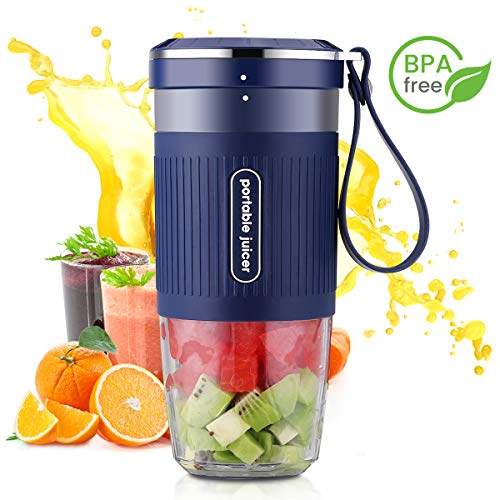 Portable Blender Mini Personal Blender, Godmorn Juicer Smoothie Blender Smoothie Maker Cordless Small Juicer Cup Mixer, USB Rechargeable BPA Free,10oz/300ml, Home Outdoor Travel Office, Blue