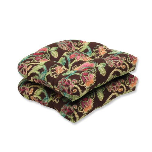 Pillow Perfect Indoor Outdoor Wicker Seat Cushion Set of 2 with Sunbrella Vagabond Paradise Fabric, 19 in. L X 19 in. W X 5 in. D