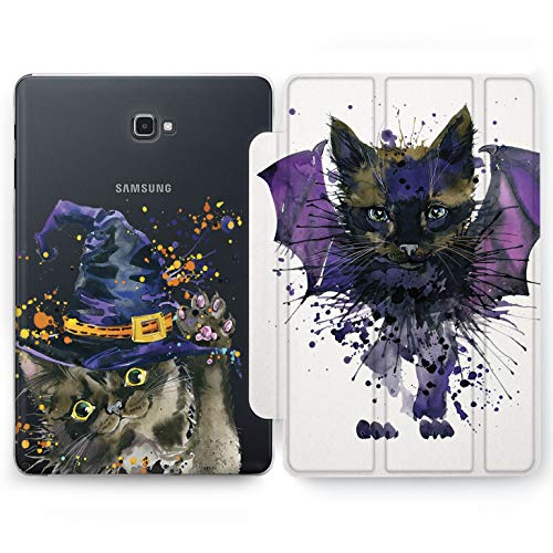 Wonder Wild Halloween Cat Samsung Galaxy Tab S4 S2 S3 A Smart Stand Case 2015 2016 2017 2018 Tablet Cover 8 9.6 9.7 10 10.1 10.5 Inch Clear Design Cute Kitten Bat Dracula Witch Hat Salem Black Drops