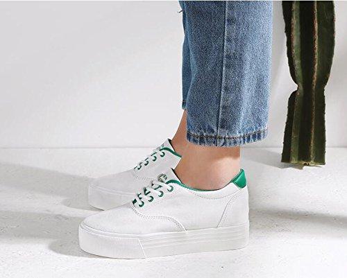 Altura Plataforma de Lona Green Interior de Bombas Zapatos de Zapatillas Estudiante Chicas Zapatos Koyi Femeninos Alpargatas nqI11T