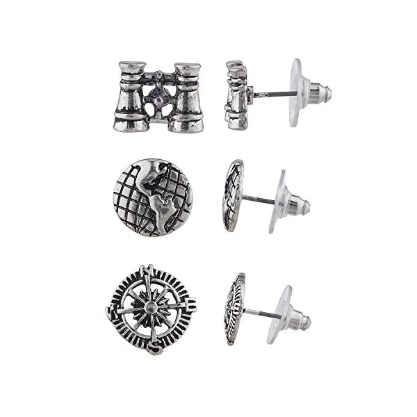 Lux Accessories Burnish Silver Tone Steampunk World Traveler Stud Multi Pack 3PR 3
