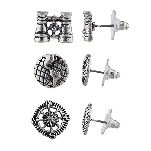 Lux Accessories Burnish Silver Tone Steampunk World Traveler Stud Multi Pack 3PR