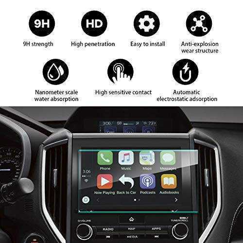 YEE PIN 2019 Subaru Forester Starlink 8Inch Screen Protector, Water-Repellent and Oil-Repellent Anti- Explosion Touch Sensitive in-Dash Glass ()