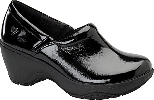 Nurse Mates Womens Bryar Leather Round Toe Clogs Black Crinkle Patent