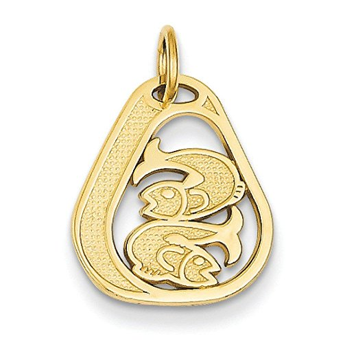 14k Gold Pisces Charm - Measures 16x14mm