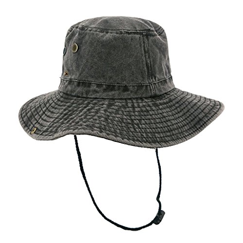 lethmik Weathered Cotton Boonie Hat Unisex Fishing Sun Camouflage Hat With Chin Cord Photo #1