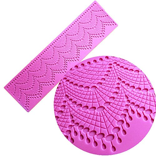 Anyana sugar tassel jewel pearl dangle edible cake silicone fondant scallop impression lace mat cake decorating mold gum paste cupcake topper tool icing candy imprint baking moulds sugarcraft trimming by Anyana (Image #6)