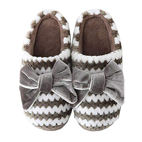 Foam Slippers Slip Velvet Bow Cozy 1 With Soles Khaki Non House Memory Women's FwTSOqn