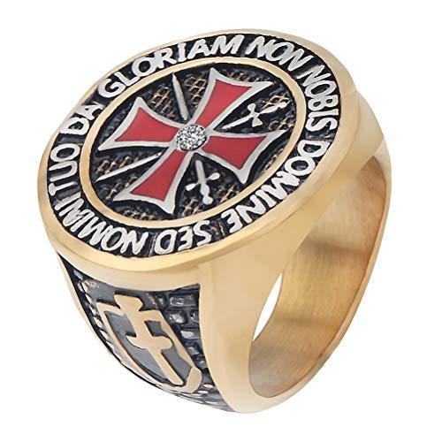 RGANT Red Cross Rings Masonic Ring,Mens Vintage Titanium Stainless Steel Knights Templar Freemason Ring