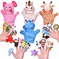 Fun Little Toys 24 PCs Finger Puppets Set with 4 Animal Hand Puppets and 20 Animal Finger Puppets, Animal Plush Toys Party Favors for Kids, Goodie Bag Fillers