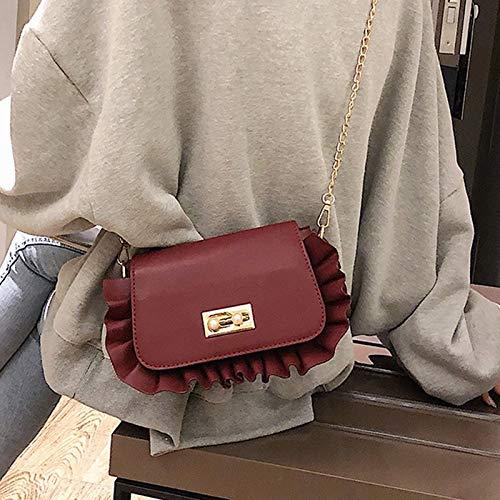 Color : Pink QXU-DIMDIM Cute Ruffled Small Bag Spring Fashion Single Shoulder Messenger Bag Girl Cute Bag