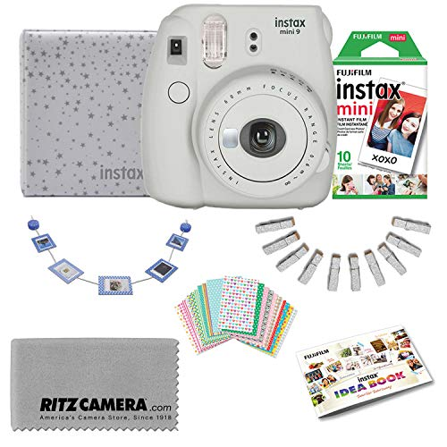 Fujifilm Instax Mini 9 Back to School Teacher and Holiday Bundle (Smokey White) with Ritz Camera Cleaning Cloth