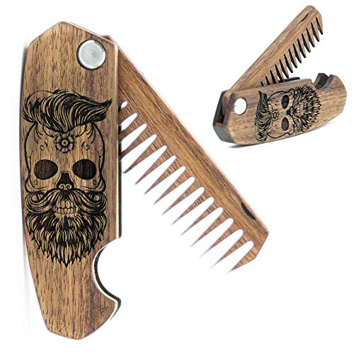 Beard Comb for Men – Pocket Folding Combs for Mustache & Hair. Travel, Natural Wooden Comb with Skull Engraving – Perfect for Use w/Beard Balm, Oil