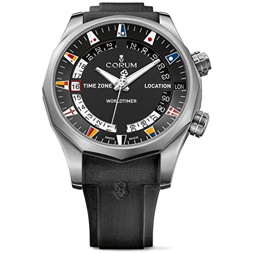 Corum Men's Admiral s Cup Legend 47 Worldtimer 47mm Black Rubber Band Automatic Watch 637.101.04/F371 AN02