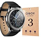 (US) Samsung Gear S3 Screen Protector (3 Packs), QIBOX Tempered Glass Screen Protector for Samsung Gear S3 Classic / Gear S3 Frontier, 9H Hardness Ultra Clear Shatterproof and Anti-Bubble
