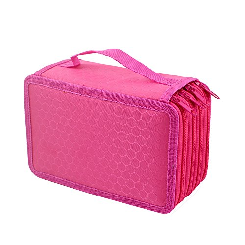 Gunsamg Pencil/Gel Pen/Watercolor Pencil Case 72 Slots Portable Wrap Case (Rose) (Case Watercolor Marker)