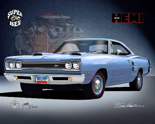 1969 DODGE SUPER BEE HEMI - 50 YEARS - OFFICIAL DANNY WHITFIELD ART SIZE 24 X 36