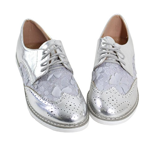 Style Derbies Shoes Silver Dentelle Femme By avec Cuir U5IZvqxxwA
