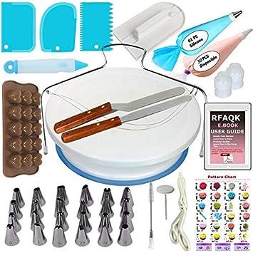 Tortendekoration-Set RFAQK | 69-teiliges Tortenzubehör-Set mit drehbarer Tortenplatte/Tortenständer für Zuckerguss und Deko,