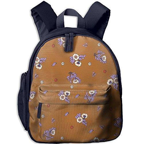 Sunmoonet Small Backpack, Floral Print Lavender Orange Water Resistant Backpack For Toddler
