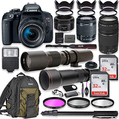 Canon EOS Rebel T7i DSLR Camera with 18-55mm Lens Bundle + Canon EF 75-300mm III Lens, Canon 50mm f/1.8, 500mm Lens & 650-1300mm Lens + Canon Backpack + 64GB Memory + Monopod + Professional Bundle ()