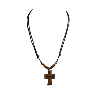 Bluerica Wood Cross Pendant On Adjustable Corded Necklace With Wood Beads