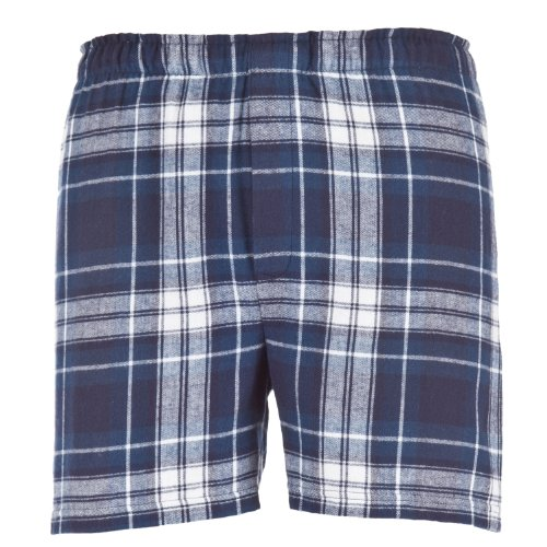 Navy Blue White Plaid Check Classic Cut Flannel Boxer Shorts, Unisex Sizes, 2XL (White Short Flannel Boxer)