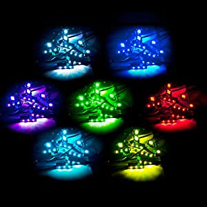 KapscoMoto SPIDER POD 7 COLOR LED POD ACCENT LIGHT GLOW KIT UNIVERSAL MOTORCYCLE LIGHT KIT UNDERGLOW FITS CRUISERS, ATV, SNOWMOBILE, MOTORCYCLE NEON LIGHT KIT WITH 2X WIRELESS CONTROLS GLOW PACKAGE