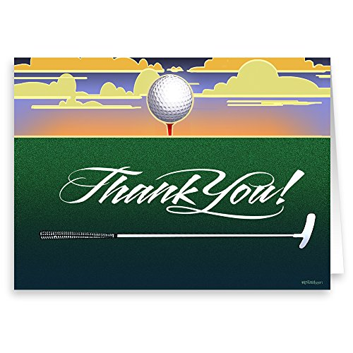 Golf Thank You Note Card - 18 Boxed Cards & Envelopes - Golfing Gifts by Stonehouse Collection